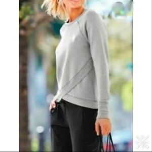 Athleta Criss Cross Serenity Gray Sweatshirt M L/S
